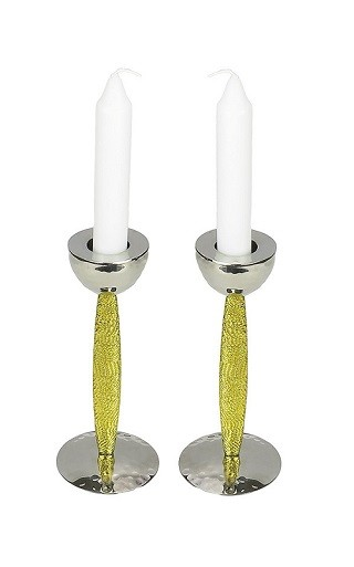 Set of 2 Candle Holders with Gold Stem