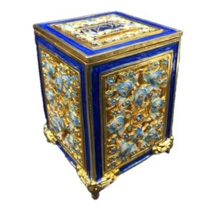 Jeweled Tzedakah Box - Gold/Blue