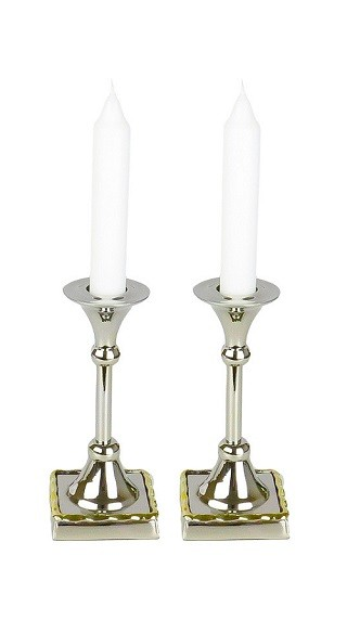Set of 2 Candle Holders with Gold Borders