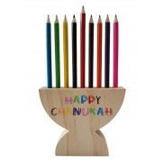 Wooden Menorah Pencil Holder