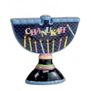 Ceramic Chanukah Menorah - Hand painted