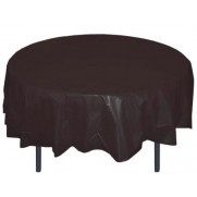 "Round Plastic Tablecloth 84"" BLACK"