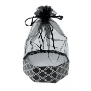 Black polygon Box with Organza Top