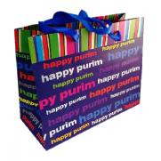 Boutique Style Happy Purim Paper Bag - Blue