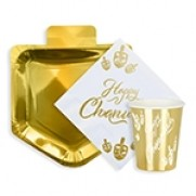 Happy Chanukah Paper Goods Package - Gold