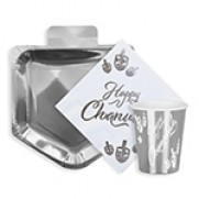 Happy Chanukah Paper Goods Package - Silver