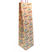 Purim Tall Glitter Wine Kraft Bag - 3 Pk