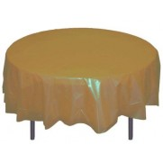 "Round Plastic Tablecloth 84"" GOLD"