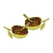 Personal Honey Dish Set with Spoons - GOLD