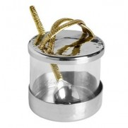 Glass Honey Dish with Stainless Steel Lid with Gold Embossed Handle
