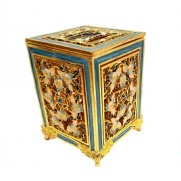 Jeweled Tzedakah Box - Gold/Teal