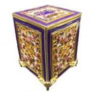 Jeweled Tzedakah Box - Gold/Purple