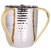 """Stainless Steel Wash Cup with Mosaic Design 4""""D X 5""""H"""