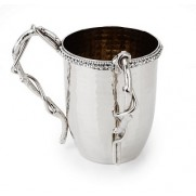 Hammered Stainless Steel Wash Cup with Diamonds