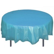 "Round Plastic Tablecloth 84"" SKY BLUE"