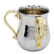 Stainless Steel Wash Cup with Gold Loop Handles