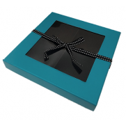 Small Sectional Window Box with Ribbon - TURQUOISE