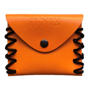 Leather Tzedoka Pouch - Orange