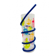 Chanukah Drinking cup with straw - Menorah