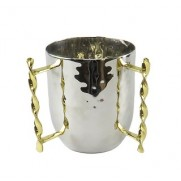 Two Tone Wash Cup with Gold Twisted Handles