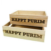 Happy Purim Wooden Box