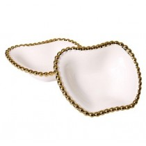White Porcelain Dish with Gold Border