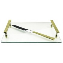 Rectangular Glass Challah Tray with Knife and Gold Handles