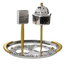 Hammered Stainless Steel Havdalah Set - Gold