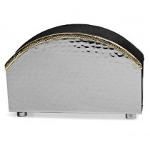 Nickel Napkin Holder with Gold Border