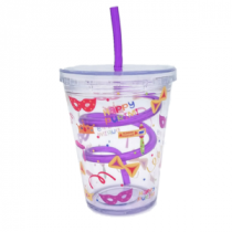 Purim Drinking Cup with Straw