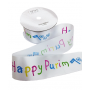 Happy Purim Satin Ribbon - Medium