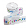 Happy Purim Satin Ribbon - Large